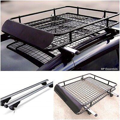 Lockable Aluminium Roof Rail Bars & Car Rack Tray for Land Rover Discovery 00-04