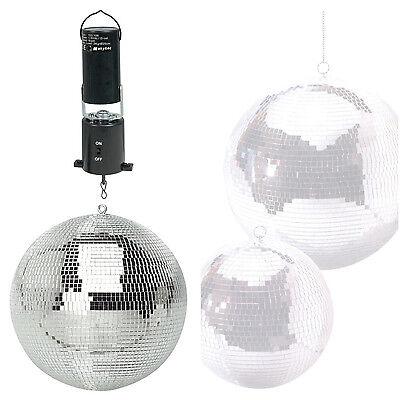 "Lightweight Silver Dance Disco Party DJ Mirror Ball 300mm 12"" + Revolving Motor"