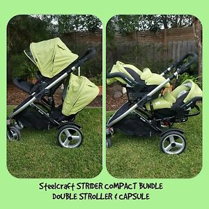 Steelcraft Strider Compact BUNDLE 2 Seat Stroller & Capsule Southport Gold Coast City Preview