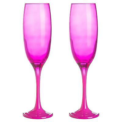2x Farbige Champagnerflöten Hen Do Partei Prosecco Toasten Gläser 220ml Rosa