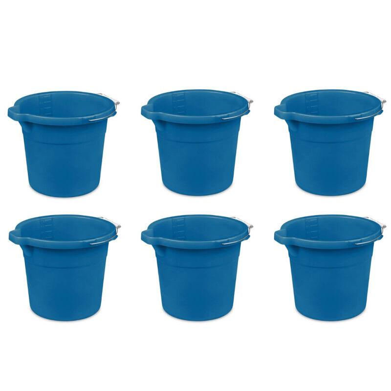 Sterilite Heavy-Duty Large 18-Quart Easy Pour Spout Pail Bucket, Blue (6 Pack)