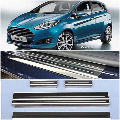 Ford Fiesta 2008> 5 Door Stainless Steel Kick Plate Door Sill Protectors - K89S