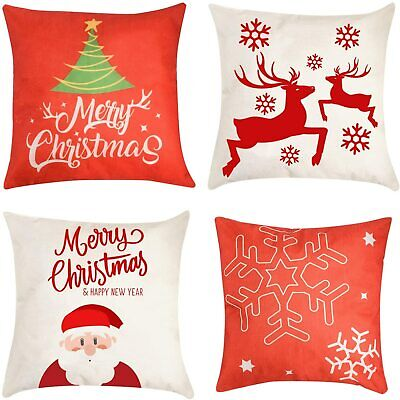 "Christmas Pillow Cover Decorations - 4 PCS 18""x18"" Christmas Decorative Couch Pi"