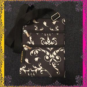 J Garden Womens Black and White Damask Print Crossbody Handbag Purse