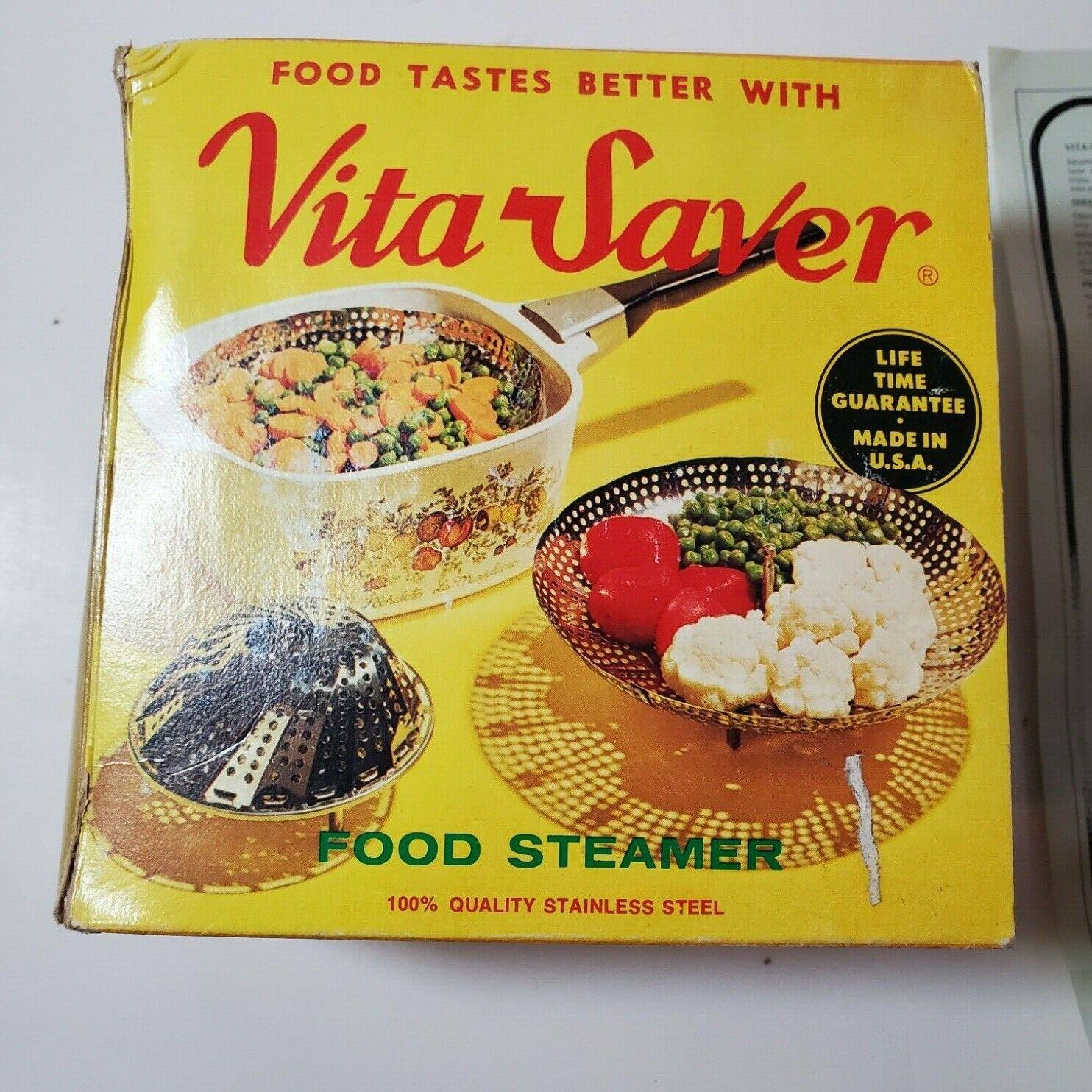 VINTAGE COLLECTIBLE VITA-SAVER metal FOOD STEAMER WITH ORIGI