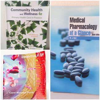 Selling: 3 NURSING Books-CommunityHealth-Pharmacology-Pathophysiology!  Bankstown Bankstown Area Preview