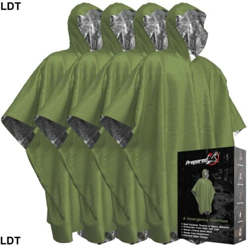 PREPARED4X Emergency Blanket Poncho - Keeps You and Your Gear Dry - GREEN - NEW