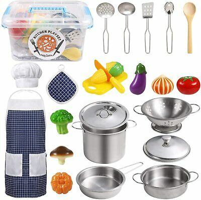 Kitchen Pretend Play Toys Accessories with Stainless Steel Cookware Pots,Pan set