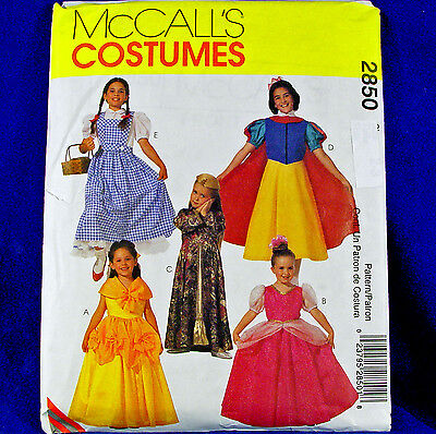 McCall's 2850 Fairy Tale Classic Character Costume sewing Pattern 5 looks sz 2-3 - Female Fairytale Characters