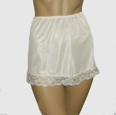 Cream Deep Lace French Knickers Size 10/12 Textured Satin New