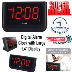 Digital Alarm Clock Large Led Dual Display Snooze Button Battery Operated Desk