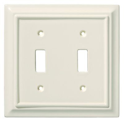 BRAINERD ARCHITECTURAL WHITE WOOD DOUBLE TOGGLE SWITCH PLATE