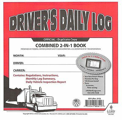 5 Pack 2-in-1 Jj Keller Drivers Daily Log Book 8541 Wcarbon Wsimplified Dvir