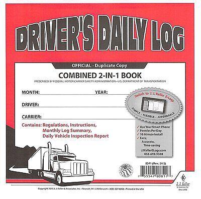 5 PACK 2-In-1 JJ KELLER Driver's Daily Log Book 8541 615L CARBON Simplified DVIR
