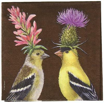 Paperproducts Design Vicki Sawyer Goldfinch Couple Paper Cocktail Napkins