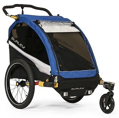 Burley D'Lite Kids Bike Bicycle Trailer Double Stroller Old School Blue NEW 2019