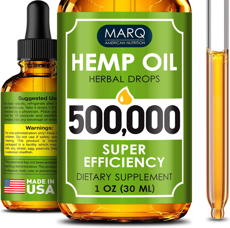 Hemp Seed Oil Drops 500,000,Premium Colorado Seed Extract, Natural Omega 3, 6, 9