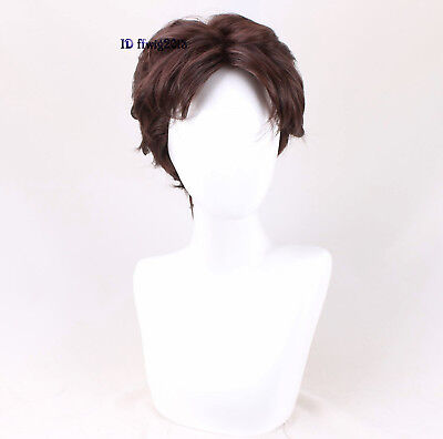 Tangled Rapunzel Flynn Rider cosplay wig short curly brown handsome men's hair