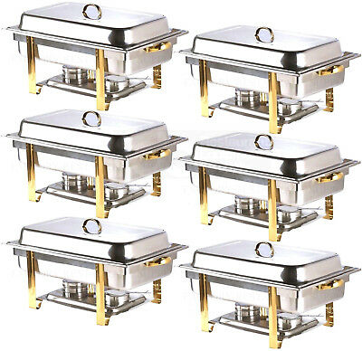 6 Pack Deluxe Full Size 8 Qt Gold Stainless Steel Buffet Chafer Chafing Dish