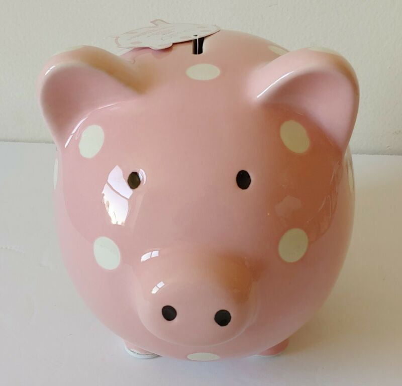 NEW Lila & Jack Ceramic Large Piggy Bank Pink with White Polka Dots