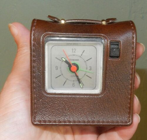 Vintage Vitronic Travel Alarm Clock in Leather Case