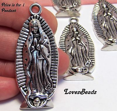 - 1 BIG SILVER Virgin Mary Statue PENDANT-our lady of guadalupe-Religious-Catholic