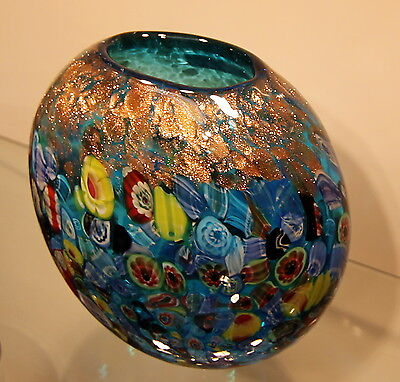 "New 7"" Hand Blown Glass Art Vase Bowl Blue Italian Millefiori Multicolor"