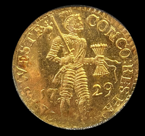 Westfriesland, United Netherlands, gold ducat, 1729.	KM-93.2. Typically lustrous