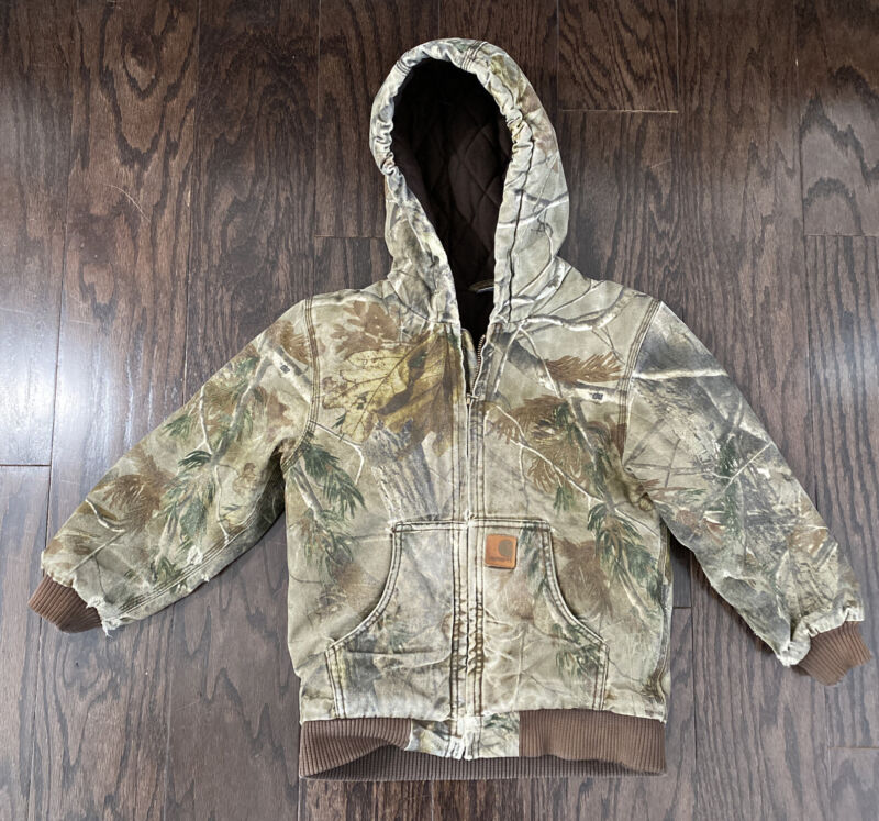 Vintage Carhartt Hooded Farm Work Canvas Work Jacket Youth Small Camouflage Camo