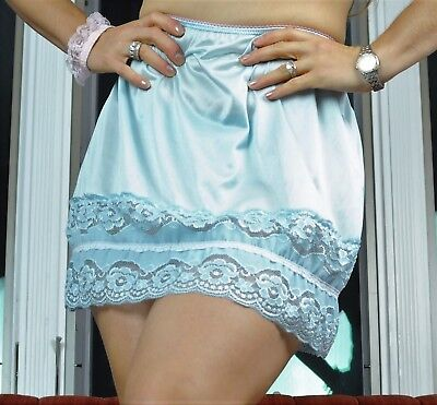 VTG Style Hand made ALL NYLON PLUS SIZE Wide Lace Blue Half Slip Skirt  XL- XXL