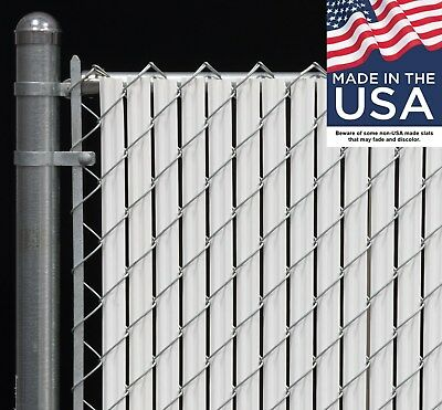 4 ft High White Wave Slat™ Single Wall Privacy Chain Link Fence Slats Slats Chain Link Fences