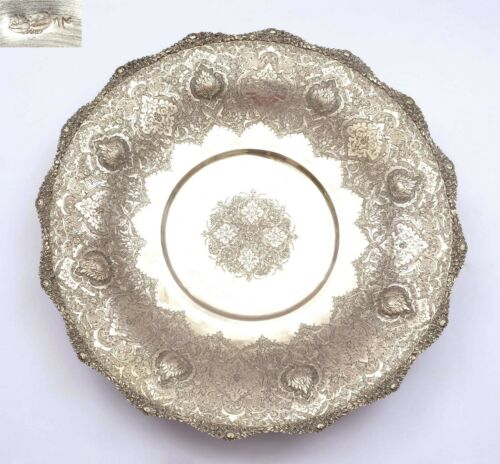 Old Persian Islamic Solid Silver Repousse Round Charger Plate Tray Mk 626 Gram