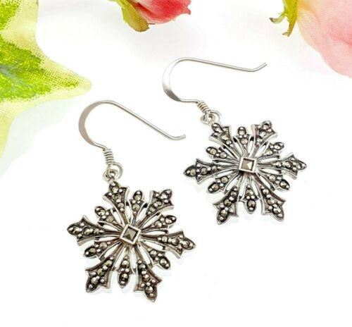 Vintage Style Sterling Silver Marcasite Snowflake Drop Earrings