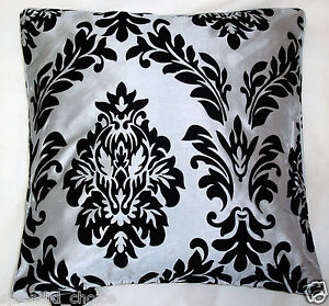 NEW FLOCK DAMASK FAUX SILK CUSHION COVERS - 9 COLOURS -18