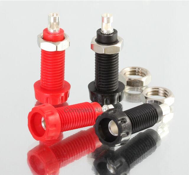 4 Deltron PANEL SOCKETS for 4mm Banana Speaker Plug Connectors Red/Black