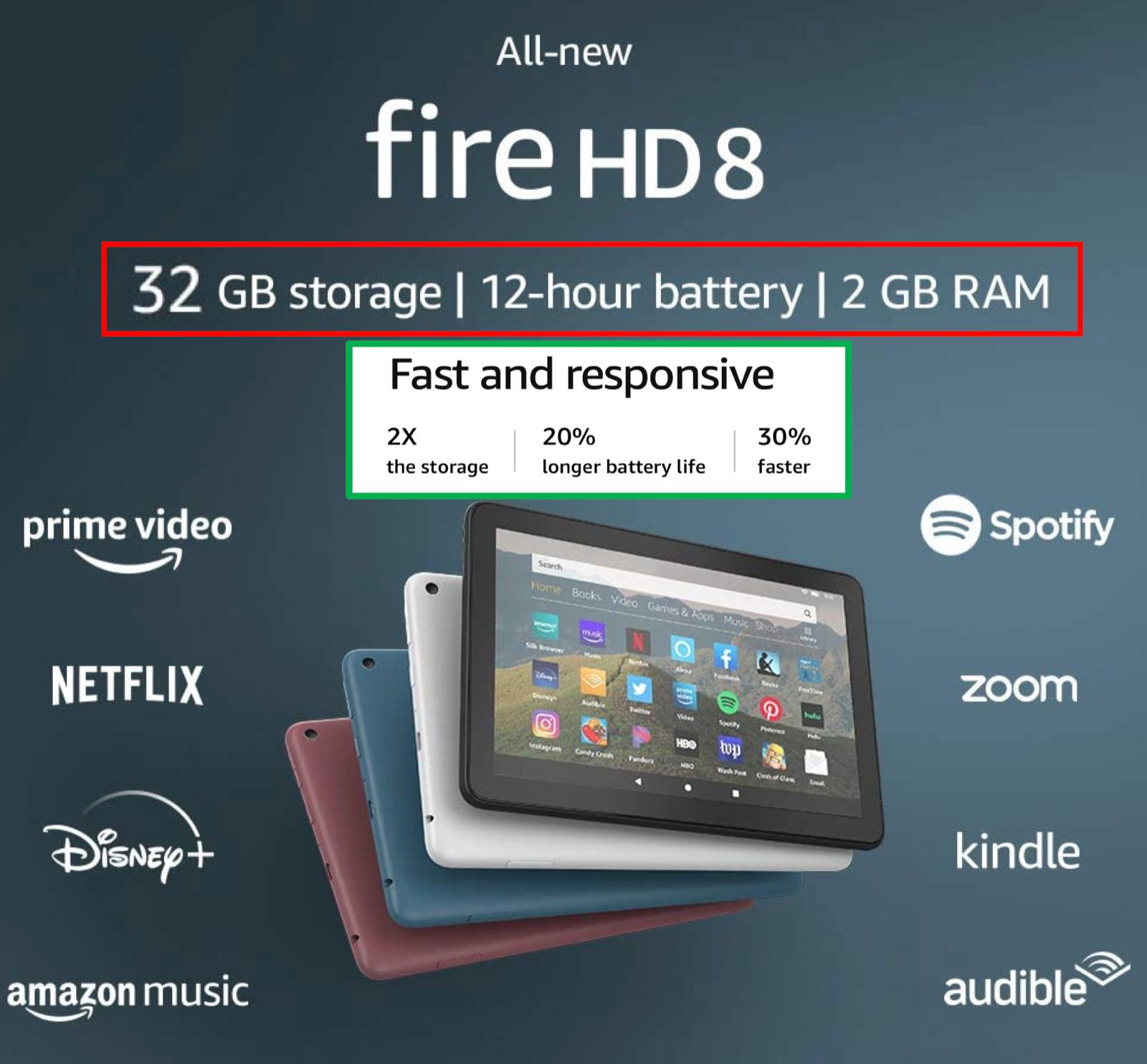 "NEW Amazon Fire HD 8 Tablet With Alexa 8"" Display 32 GB  -"