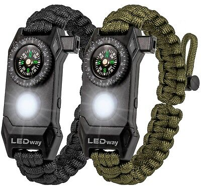 LEDway Paracord Bracelet Tactical Survival Gear Kit 6-IN-1 Compass LED SOS  - Paracord Compass