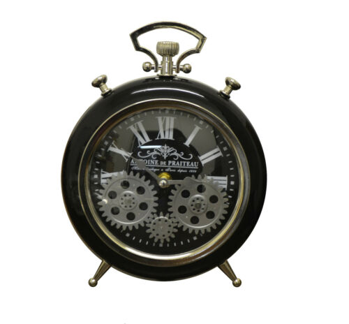 Vintage Stopwatch Style Black and Silver Skeleton Desk Clock with Moving Gears