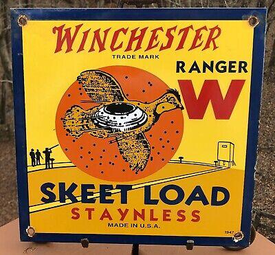 VINTAGE 1947 DATED WINCHESTER RANGER SKEET LOAD PORCELAIN SIGN COLT REMINGTON