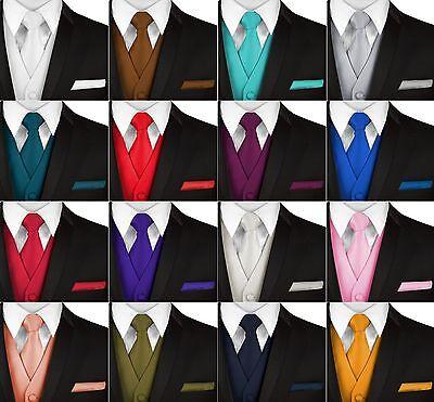 Men's Solid Satin Formal Dress Tuxedo Vest, Tie and Hankie Set. Wedding, Prom