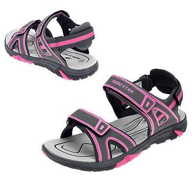 Damen Kinder Sommer Sandalen Trekking Outdoor Sandaletten Grau Pink 16968