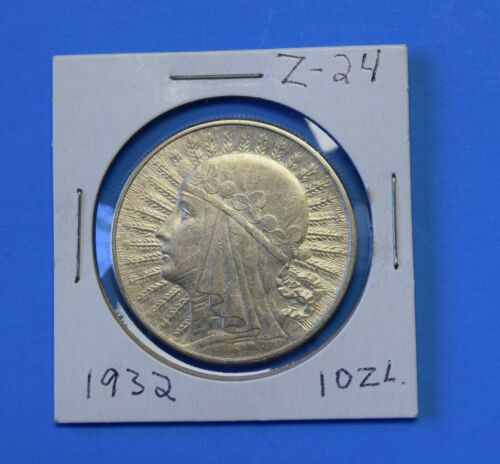1932 POLAND 10 ZLOTYCH LARGE SILVER COIN REEDED EDGE.