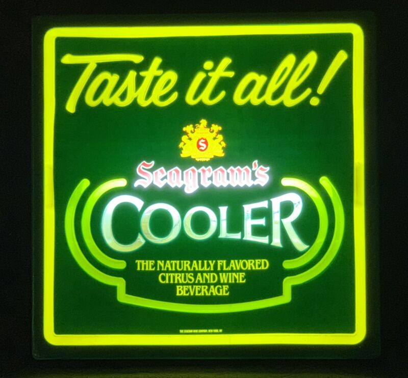 """""""TASTE IT ALL"""" SEAGRAM'S COOLER LIGHTED SIGN"""