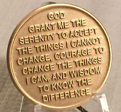 Serenity Prayer Lake Medallion Recovery AA NA Alcoholics Anonymous Chip Bronze