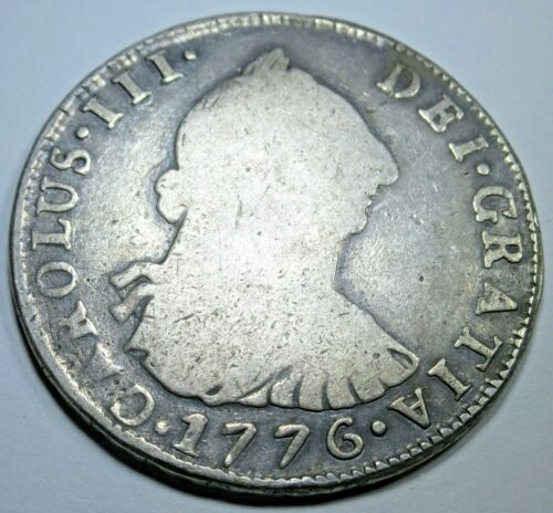 1776 JR Spanish Silver 4 Reales Old Piece of 8 Real Antique US Colonial Era Coin