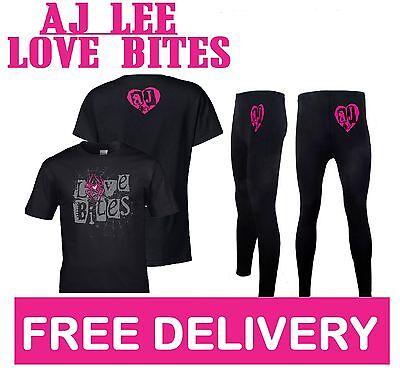 AJ LEE LOVE BITES FANCY DRESS DIVA WRESTLING WRESTLER COSTUME T-SHIRT & LEGGINGS