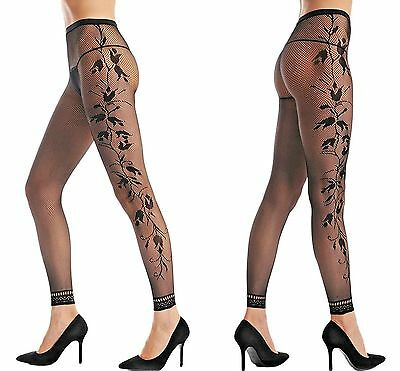 Ladies Sexy Black Fishnet Floral Opaque Footless TIGHTS BEST QUALITY BLACK