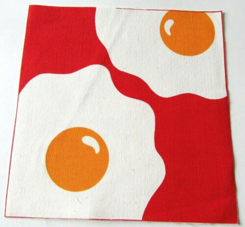 MARUSHKA Textile Print Panel Fabric Piece Sunny Side Up Eggs on Red