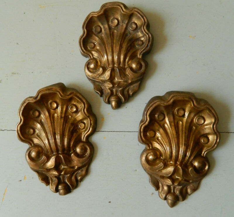 ❀VICTORIAN LOT OF 3 EMBOSSED DECORATIVE ELEMENTS FURNITURE WALL SHELL COQUILLE