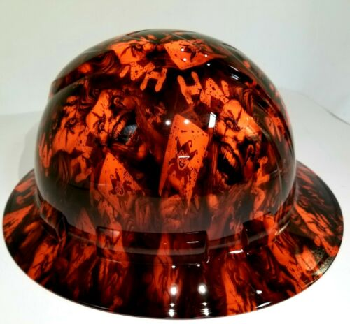 FULL BRIM Hard Hat custom hydro dipped, NEW OUTRAGEOUS ORANGE JOKER HA HA 3